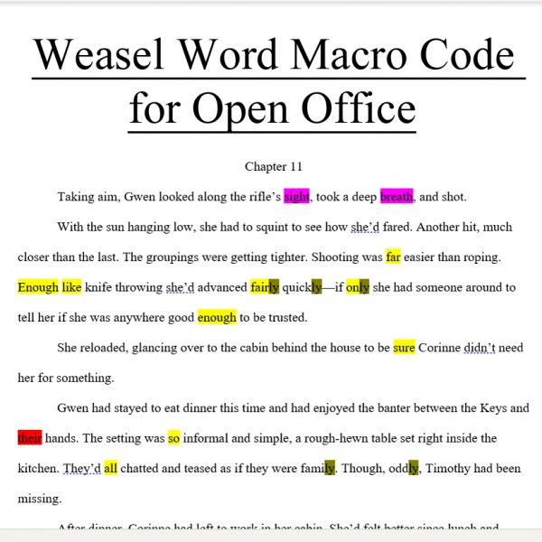 weasel word open office macro